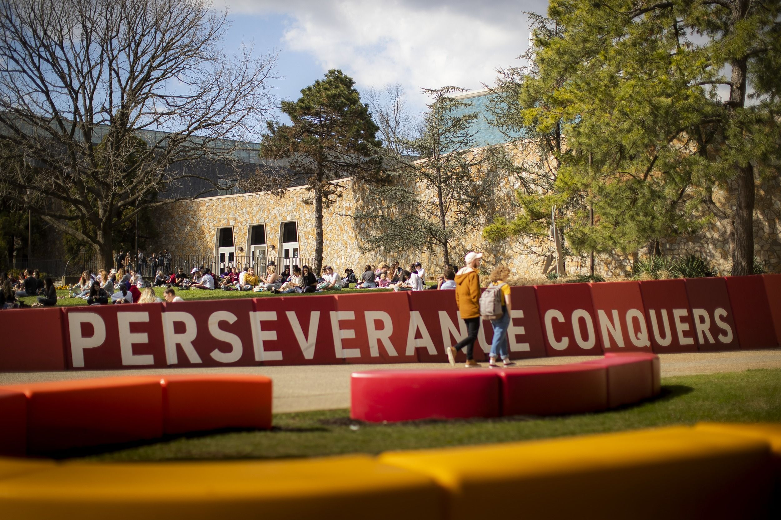 Perseverance Conquers mural on campus