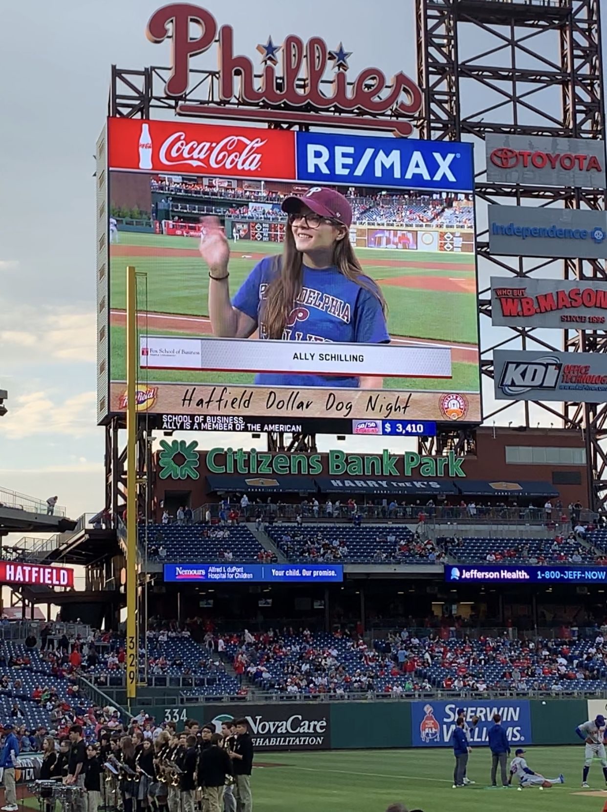 Fox student on Phillies video board