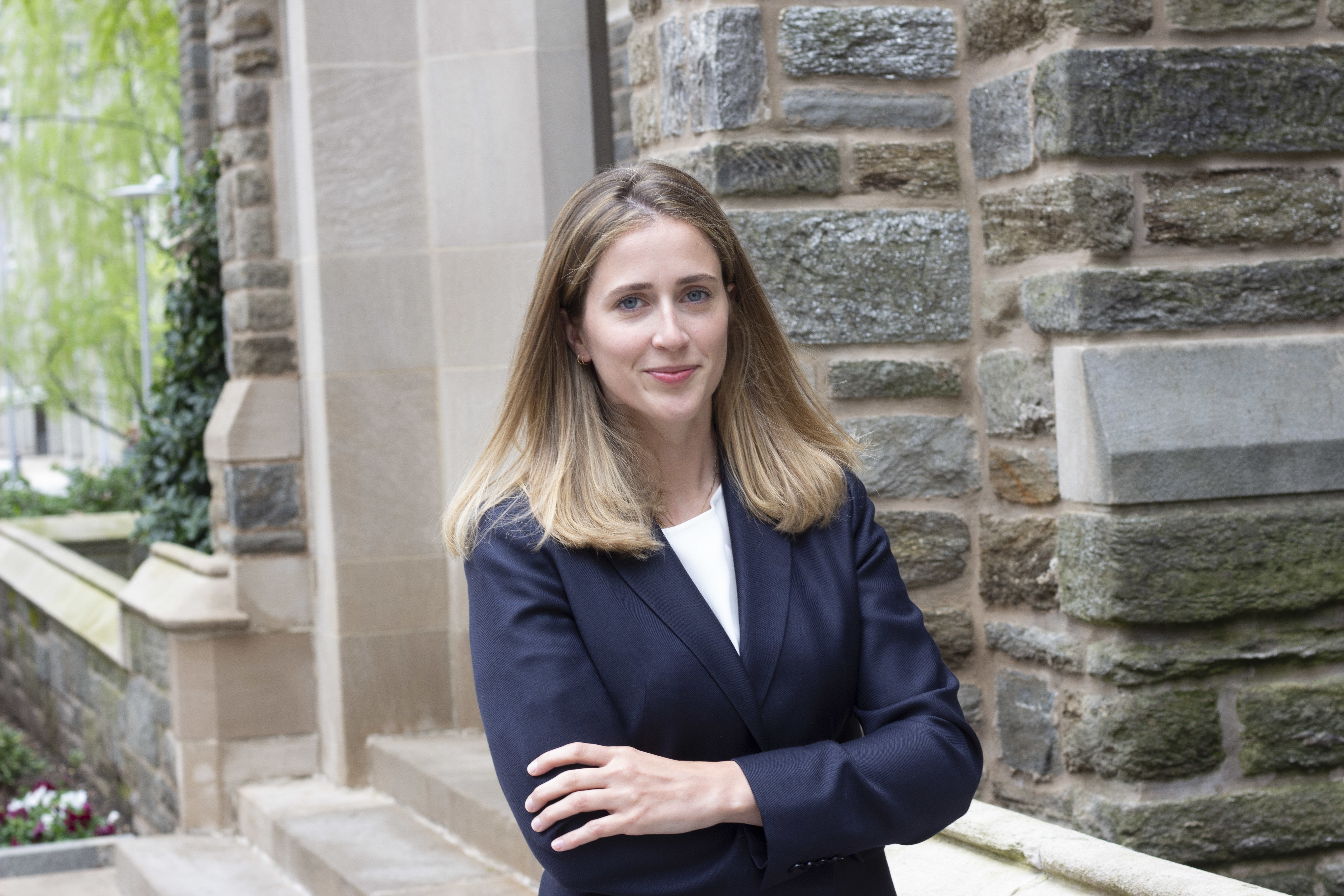 Temple Law students Katherine Durr LAW '21 outside of Sullivan Hall.