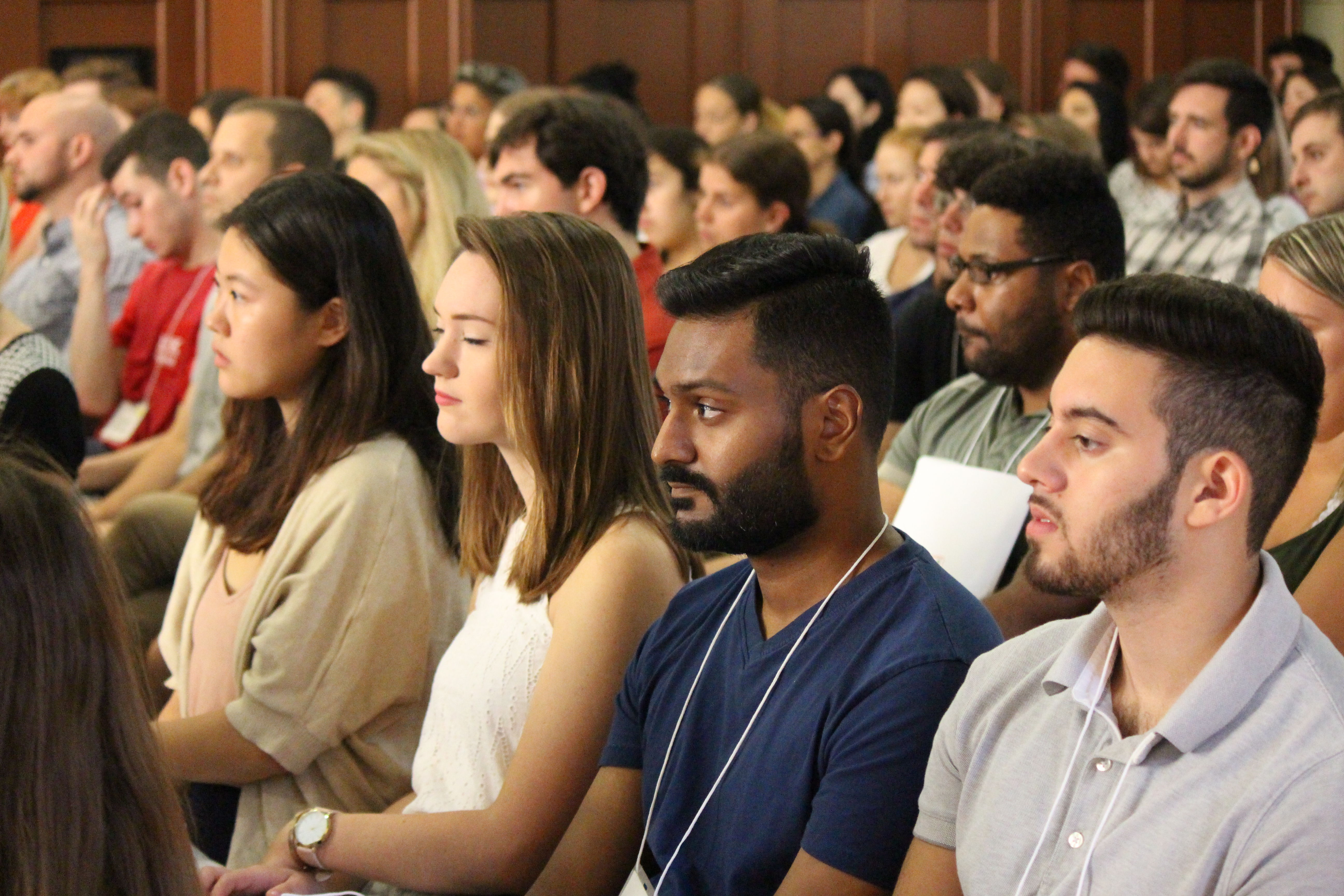 Students at the Temple Law New Student Orientation in August of 2018 in Shusterman Hall.