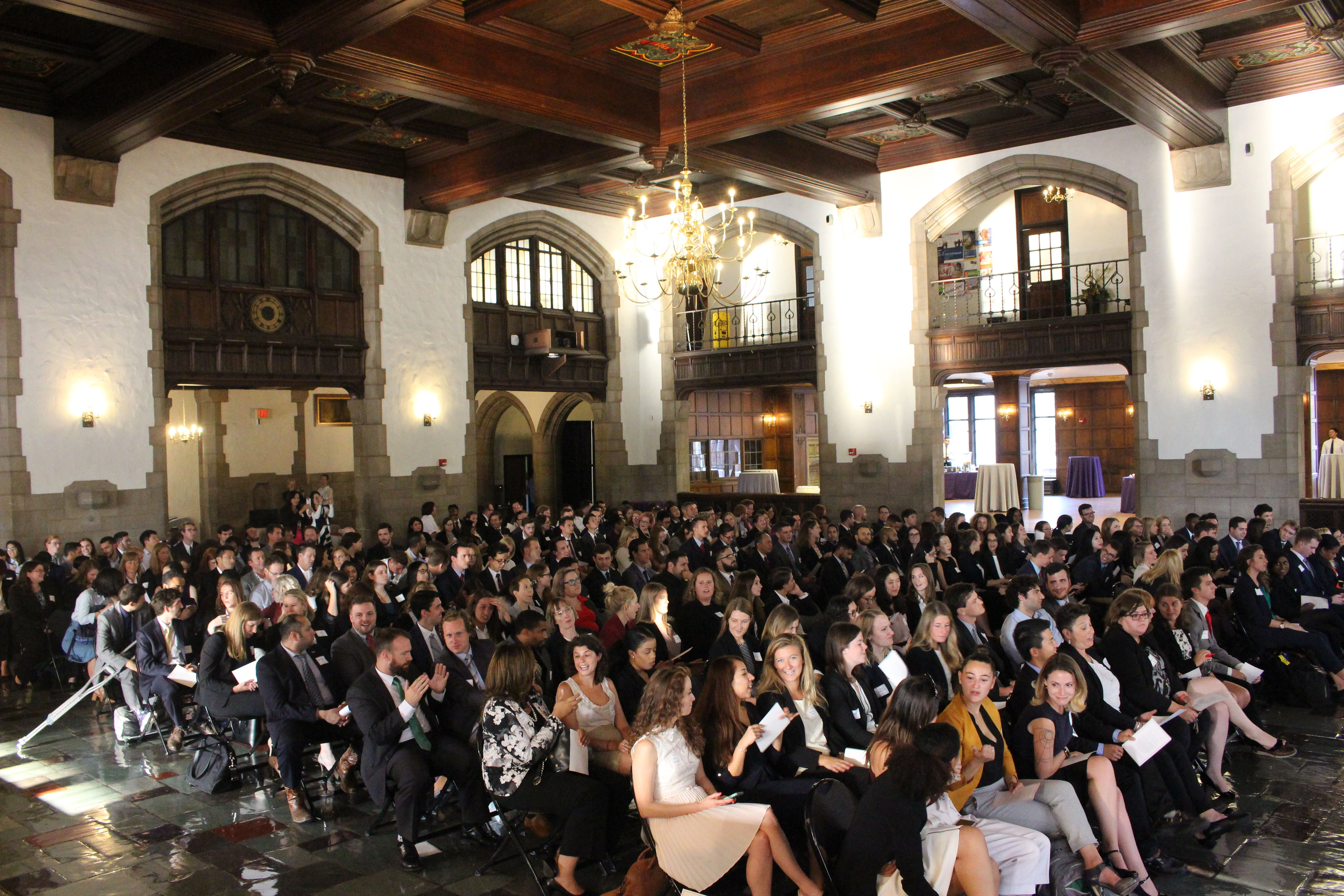 Students at the Temple Law New Student Orientation Pledge Ceremony in August of 2018 in Mitten Hall.