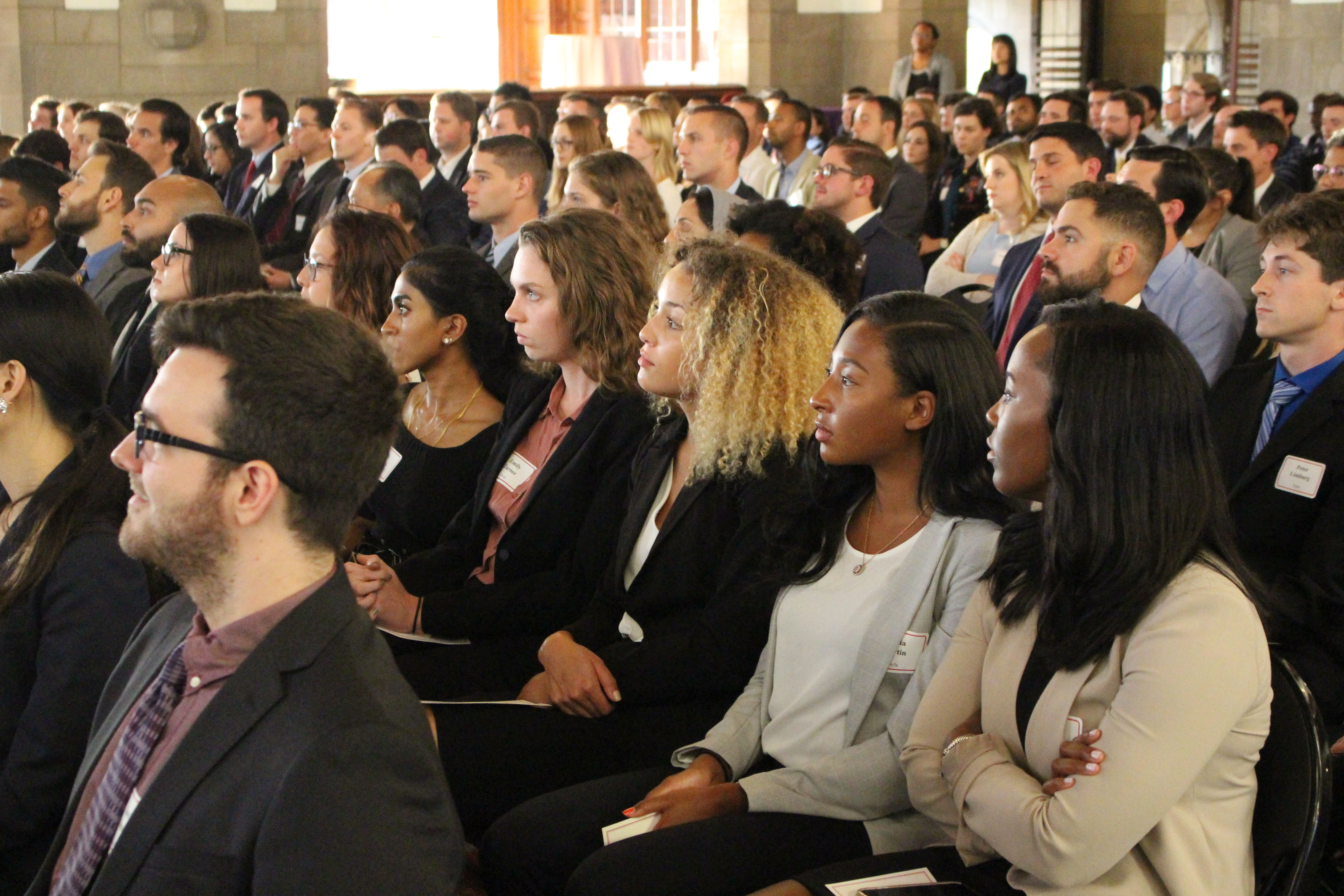 Temple Law students at the Temple Law New Student Orientation Pledge Ceremony in August of 2018 in Mitten Hall.