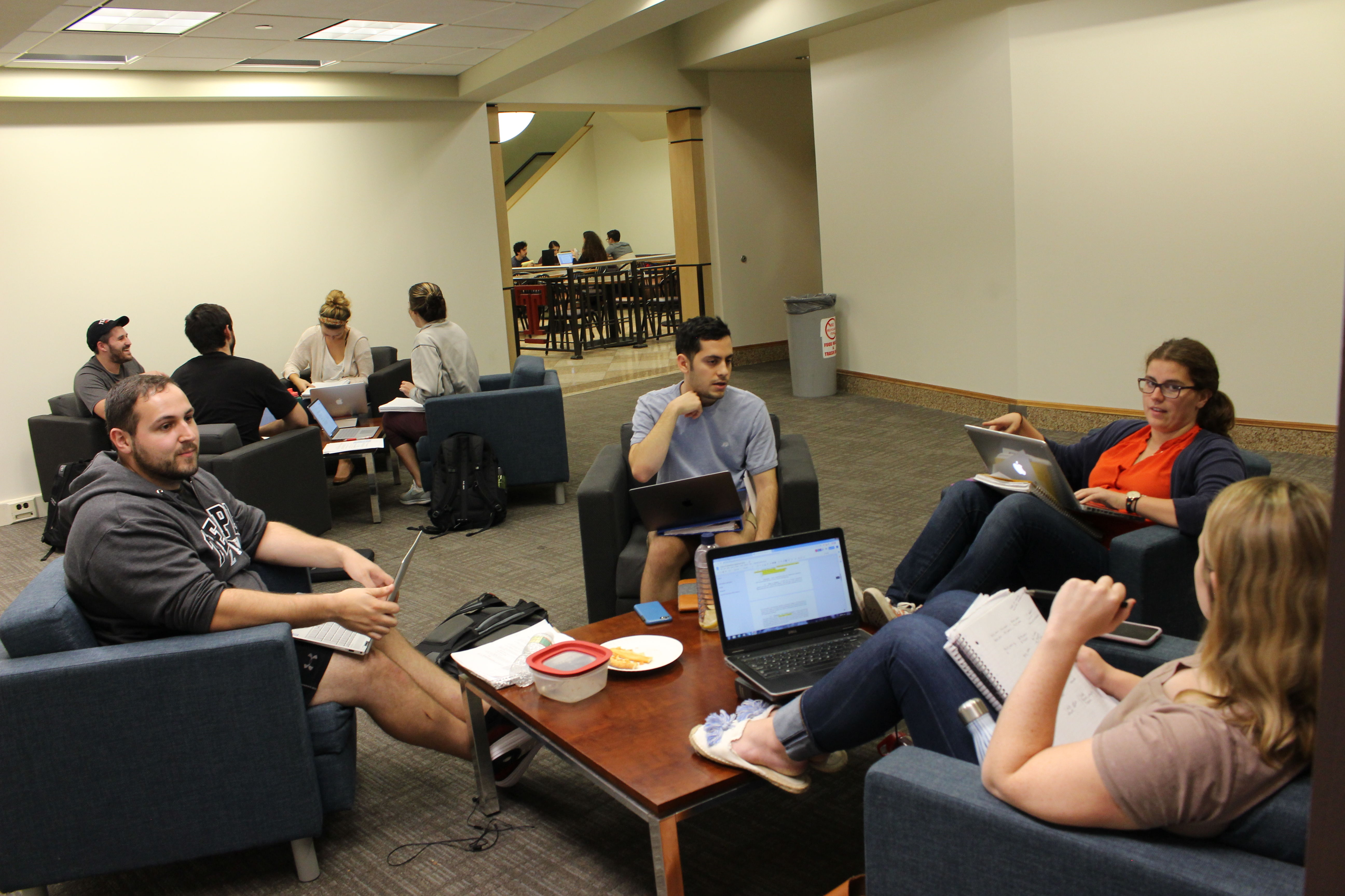 Temple Law students preparing for Introduction to Transactional Skills in October of 2018 in Klein Hall.