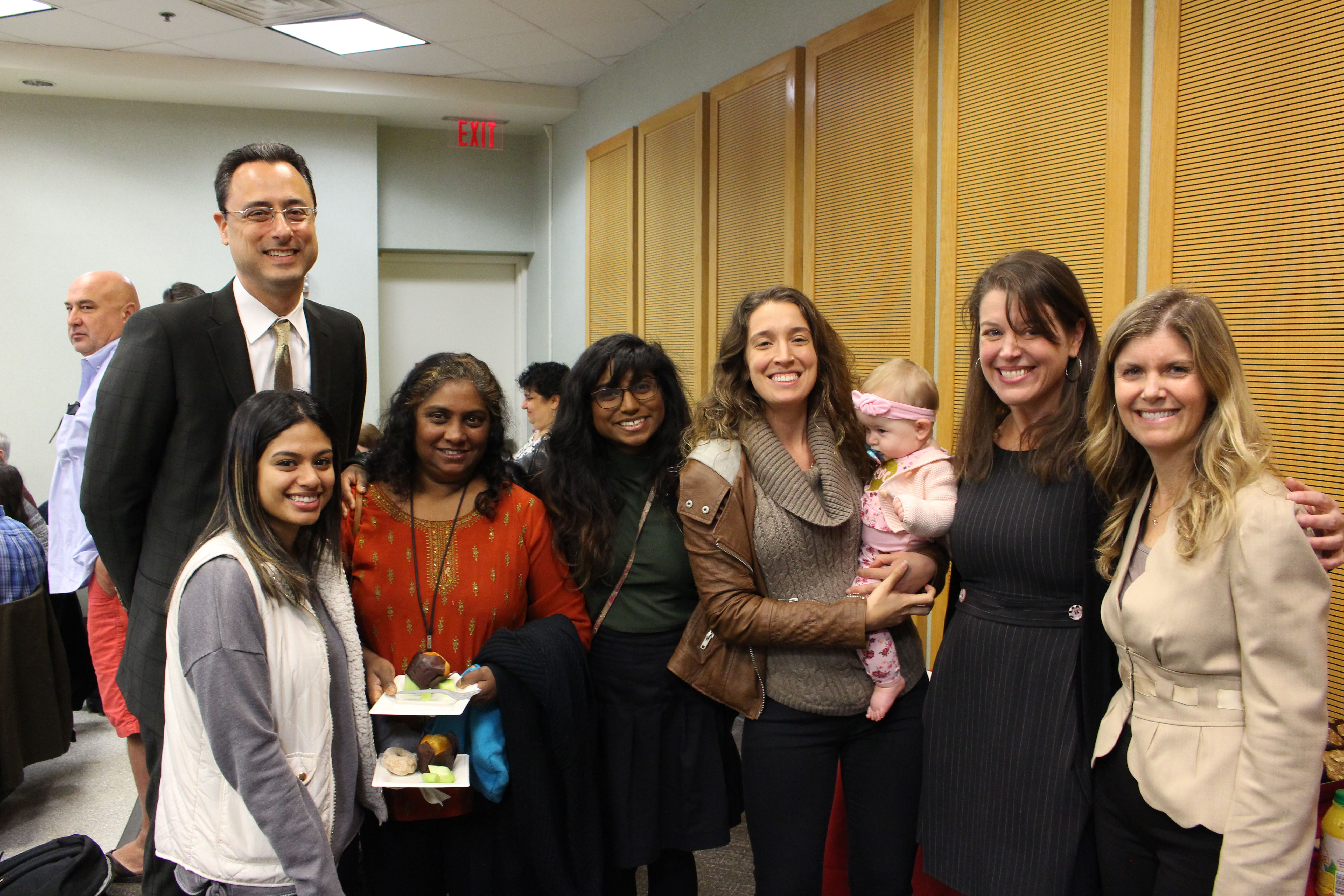 Dean Gregory N. Mandel, Professor Kristen Murray, Professor Margaret deGuzman, students, and guests at Friends and Family Day in October of 2018 in Klein Hall at Temple Law