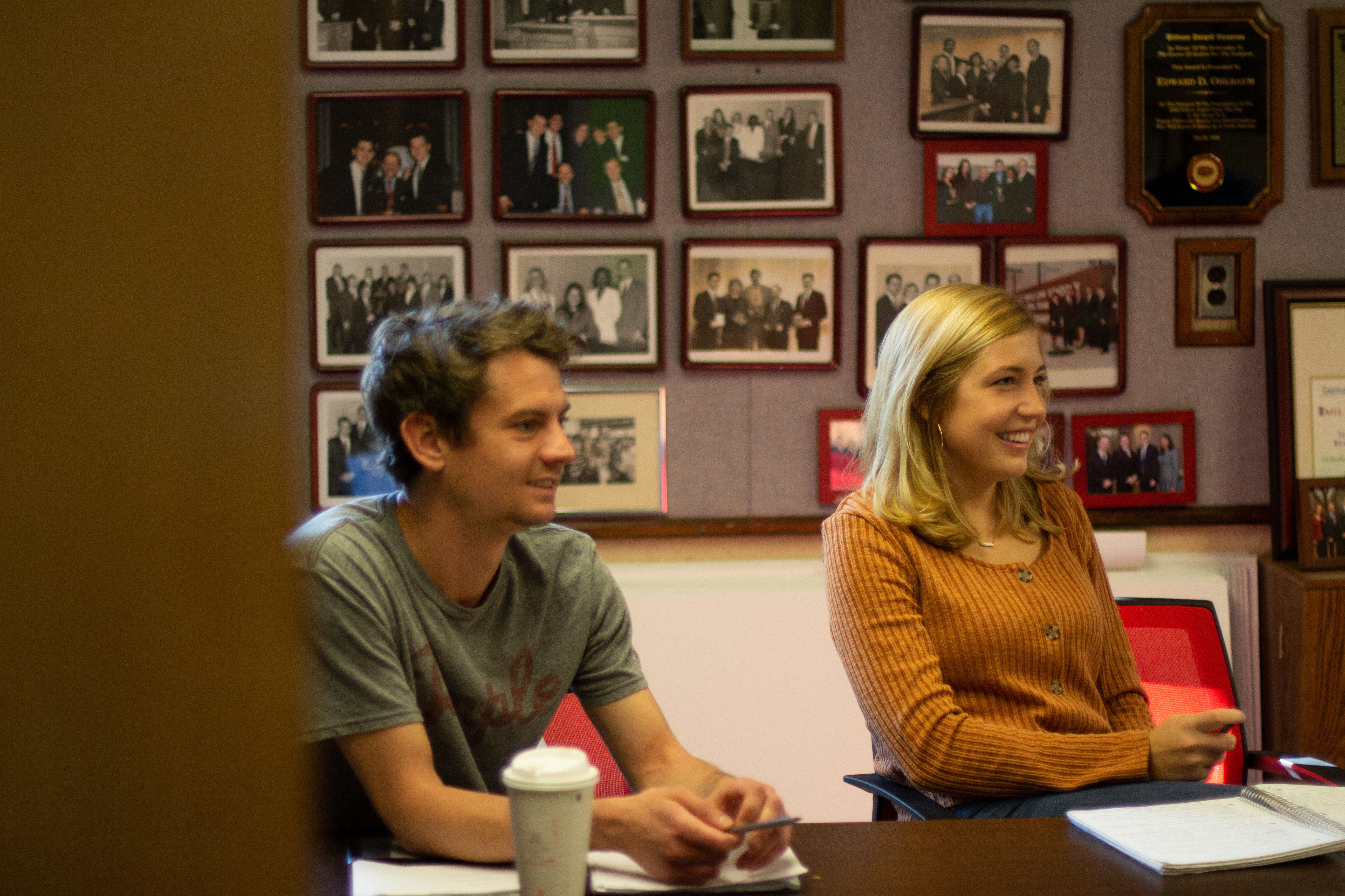 Temple Law Trial Team members Dan Craig LAW '21 and Lauren Doig LAW '21 practicing their Trial Advocacy skills in the Ohlbaum War Room in October of 2019.